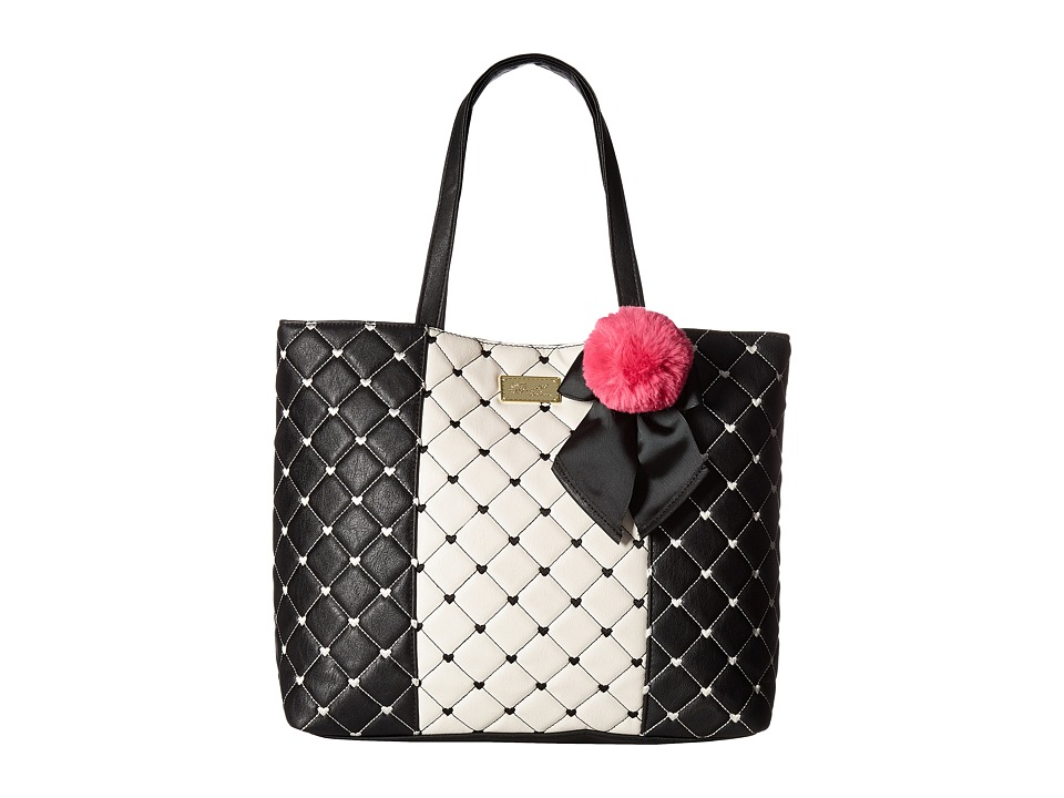 Luv Betsey - Sophi North/South Tote (Black/White) Tote Handbags