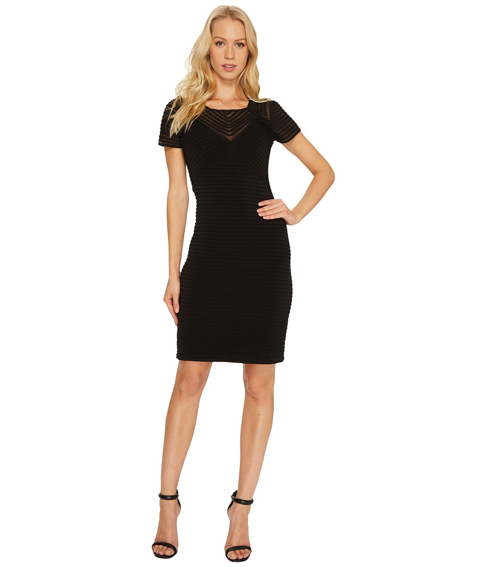 Calvin Klein - Ribbed Short Sleeve Sheath Dress CD7A1Q8C (Black) Women's Dress