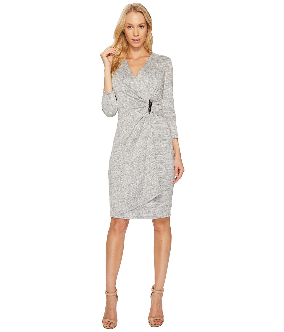 Calvin Klein - V-Neck Ruched Side 3/4 Sleeve Dress CD7A232R (Tin/Silver/Lurex) Women's Dress