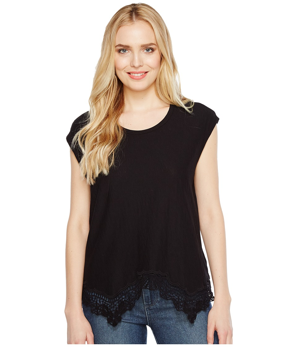 Dylan by True Grit - Soft Slub Cotton Crochet Hem Tee (Black) Women's Short Sleeve Pullover