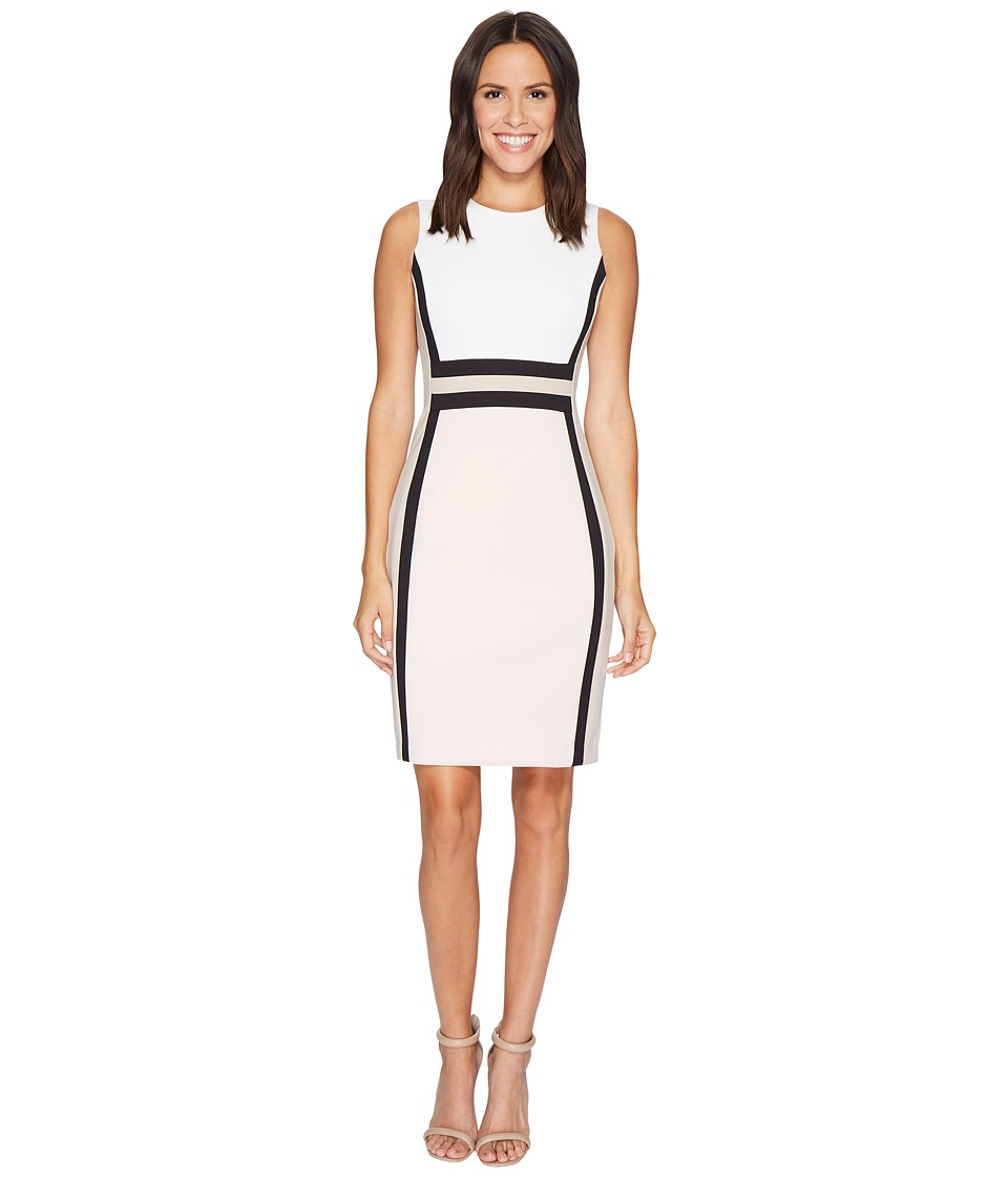 Calvin Klein - Color Block Scuba Sheath Dress CD7M1V5K (Cream/Blush Multi) Women's Dress