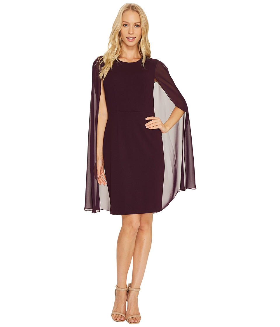Calvin Klein - Sheath Dress with Cape CD6B114C (Aubergine) Women's Dress