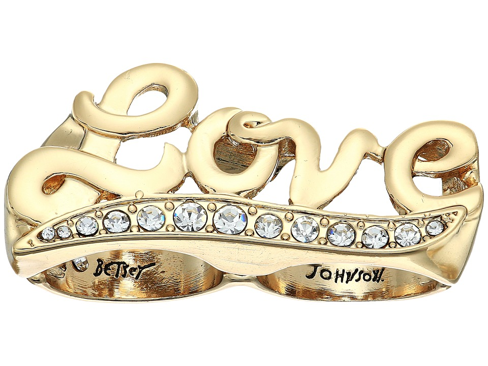 Betsey Johnson - Crystal and Gold Love Double Ring (Crystal) Ring
