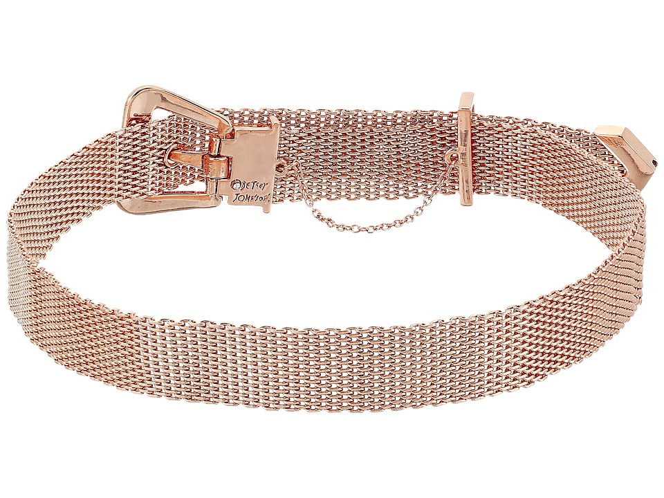 Betsey Johnson - Mesh Buckle Choker Necklace (Rose Gold) Necklace