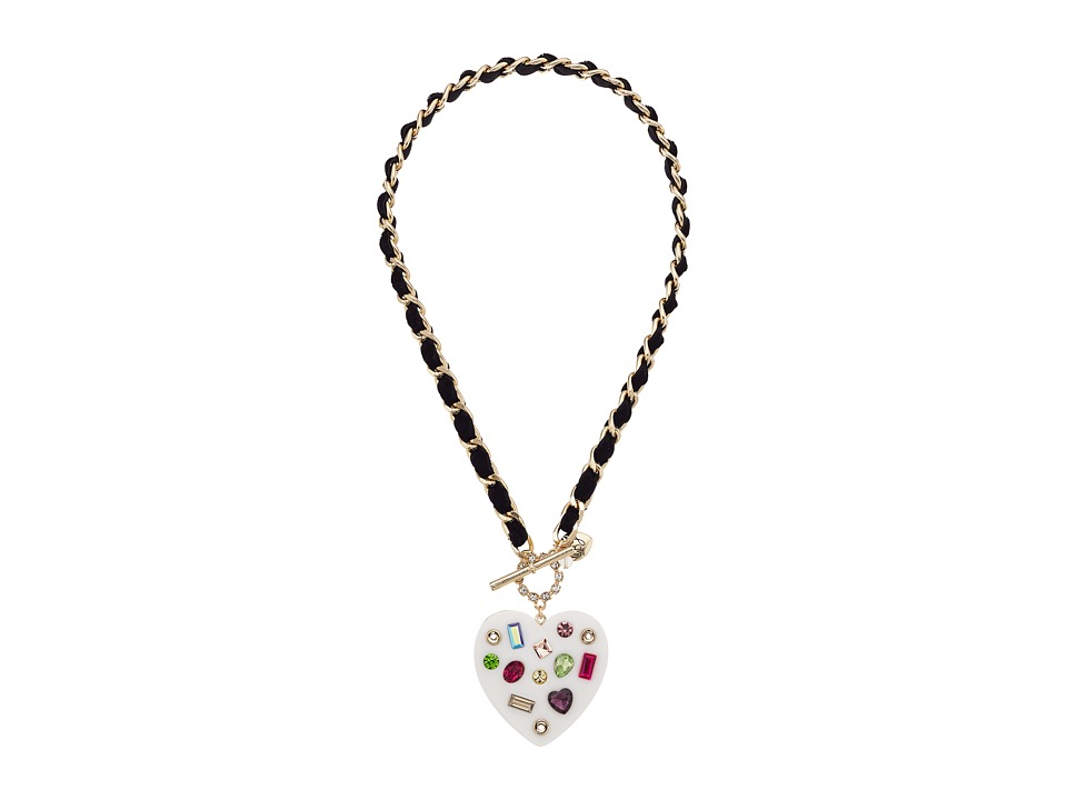 Betsey Johnson - Chain and Ribbon Pendant Necklace (Multicolor) Necklace