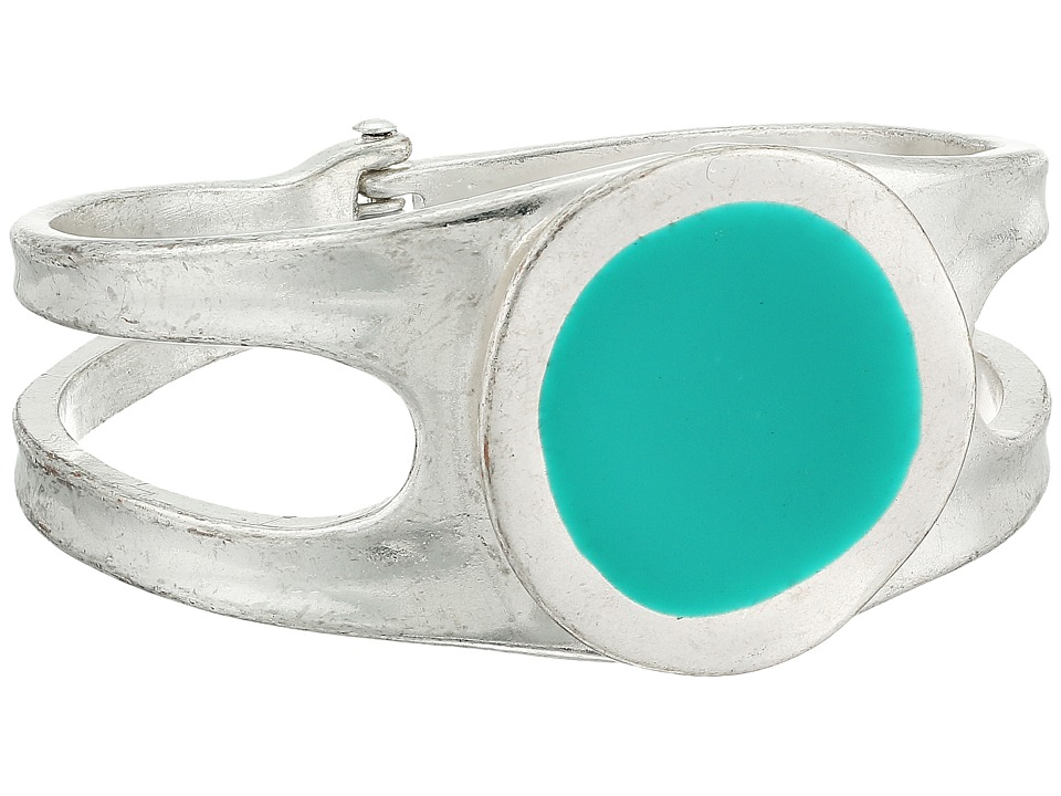 Robert Lee Morris - Silver and Teal Enamel Hinge Bangle (Teal) Bracelet