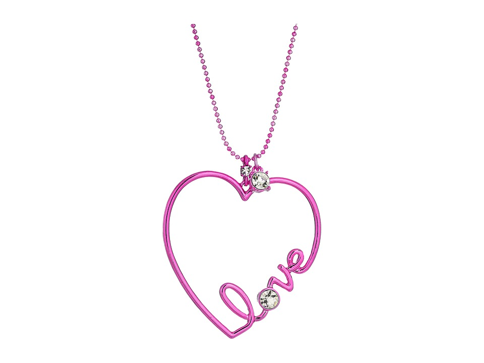 Betsey Johnson - Pink and Crystal Heart Pendant Necklace (Crystal) Necklace