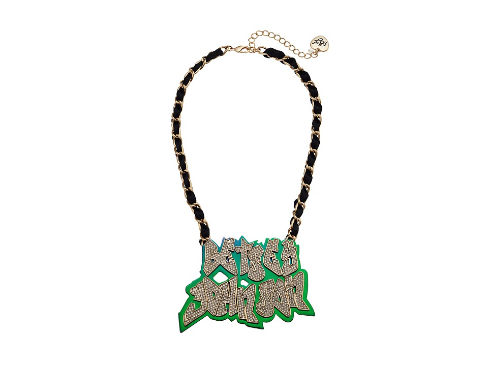 Betsey Johnson - Name Plate Necklace (Multicolor) Necklace