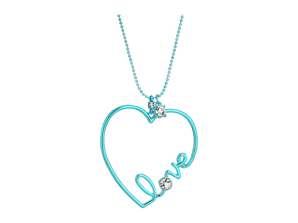 Betsey Johnson - Blue and Crystal Heart Pendant Necklace (Crystal) Necklace