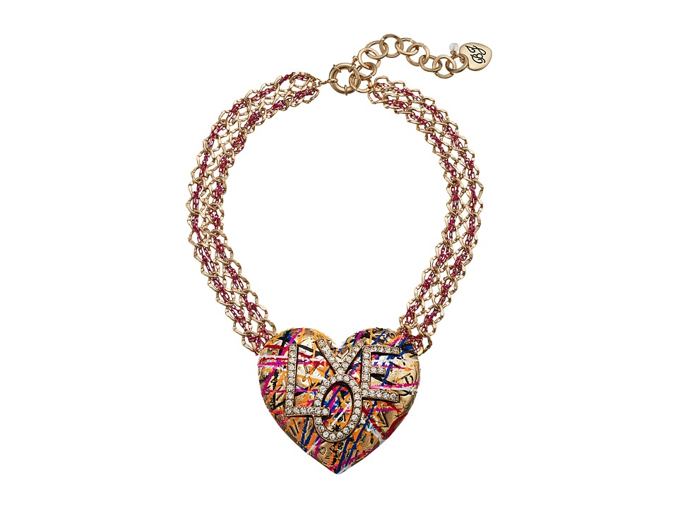 Betsey Johnson - Gold and Pink Chain with Grafiti Love Pendant Necklace (Multicolor) Necklace