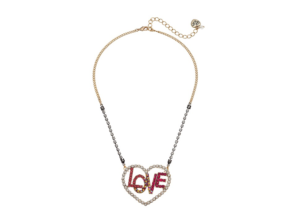Betsey Johnson - Open Love Pendant Necklace (Multicolor) Necklace