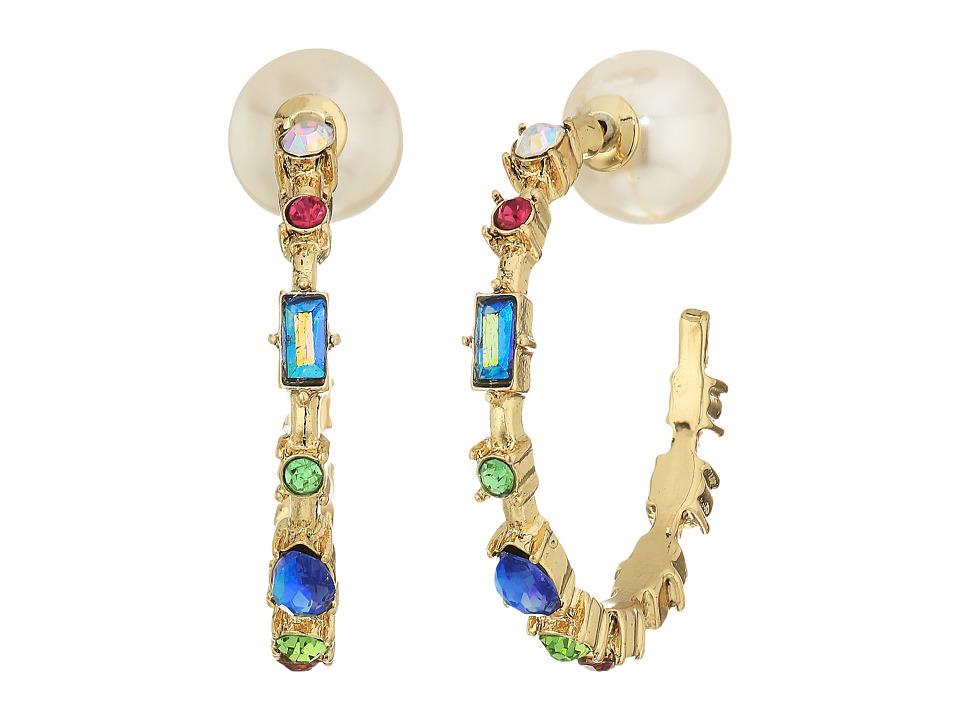 Betsey Johnson - Multi-Stone Hoop Earrings (Multicolored) Earring