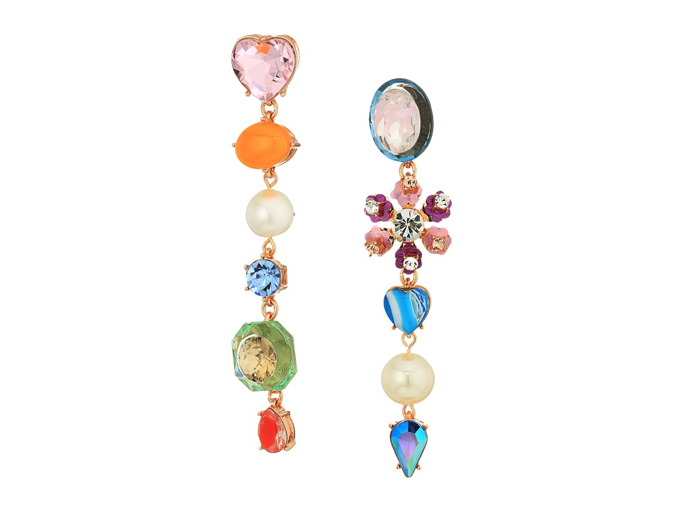 Betsey Johnson - Multi-Charm Drop Earrings (Multicolored) Earring