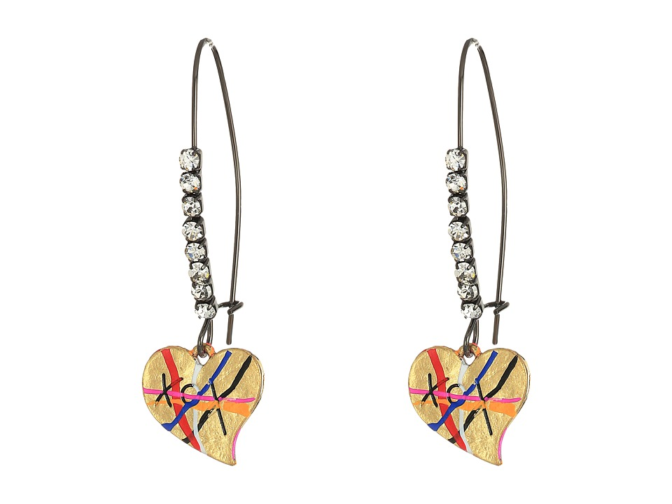 Betsey Johnson - Heart Drop Earrings (Multicolor) Earring