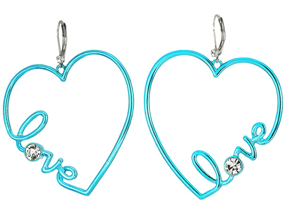 Betsey Johnson - Crystal Heart Earrings (Crystal) Earring