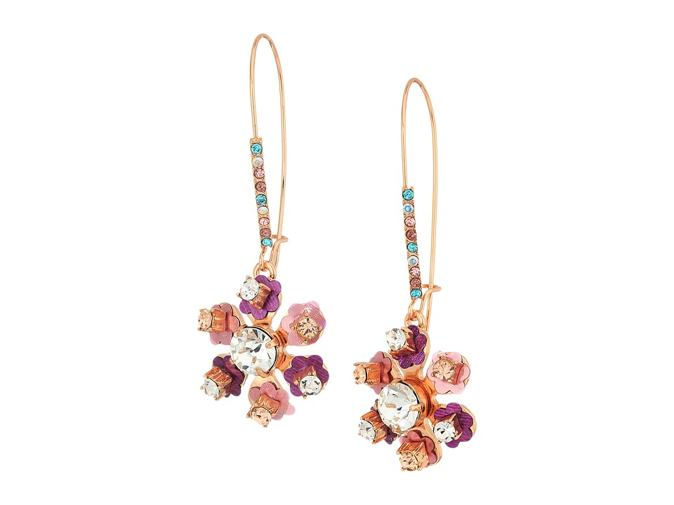 Betsey Johnson - Multi-Stone Flower Earrings (Pink) Earring
