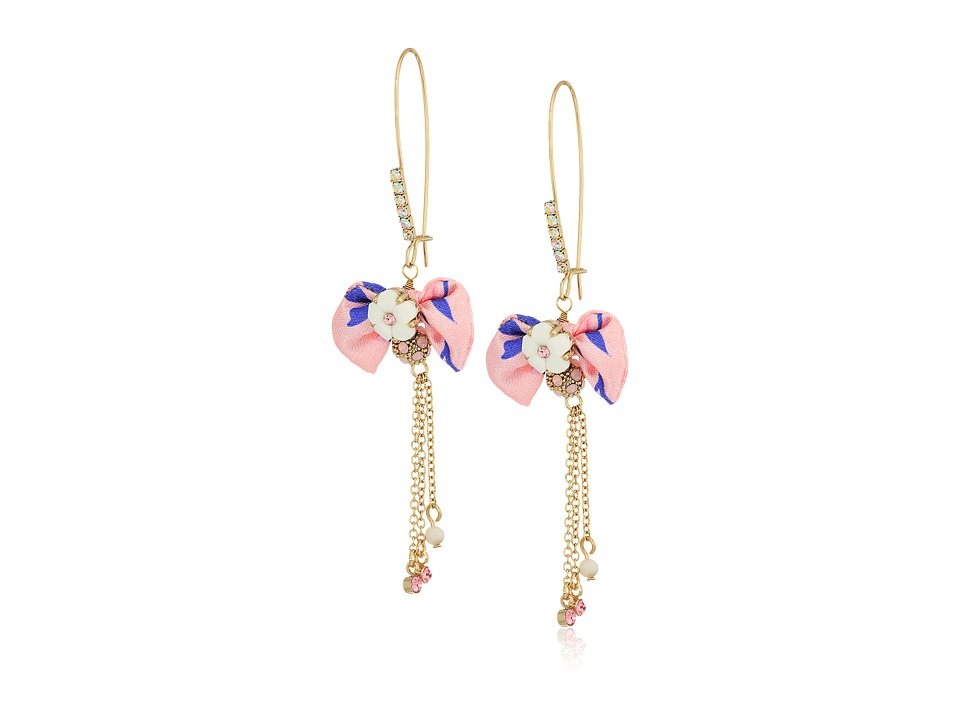 Betsey Johnson - Pink Bow and Gold Drop Earrings (Pink) Earring