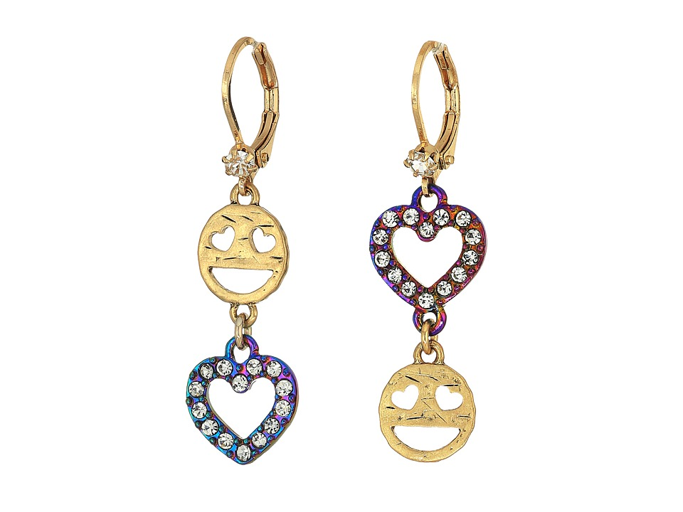 Betsey Johnson - Emoji Drop Earrings (Crystal) Earring