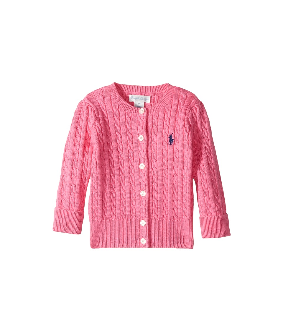 Ralph Lauren Baby - Cable-Knit Cotton Cardigan (Infant) (Baja Pink) Girl's Sweater
