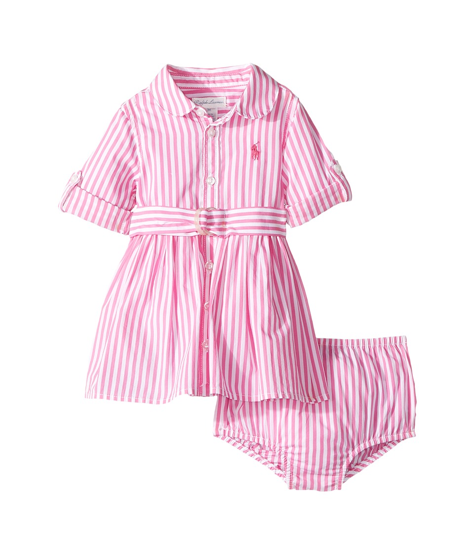 Ralph Lauren Baby - Striped Shirtdress Bloomer (Infant) (Pink/White) Girl's Active Sets