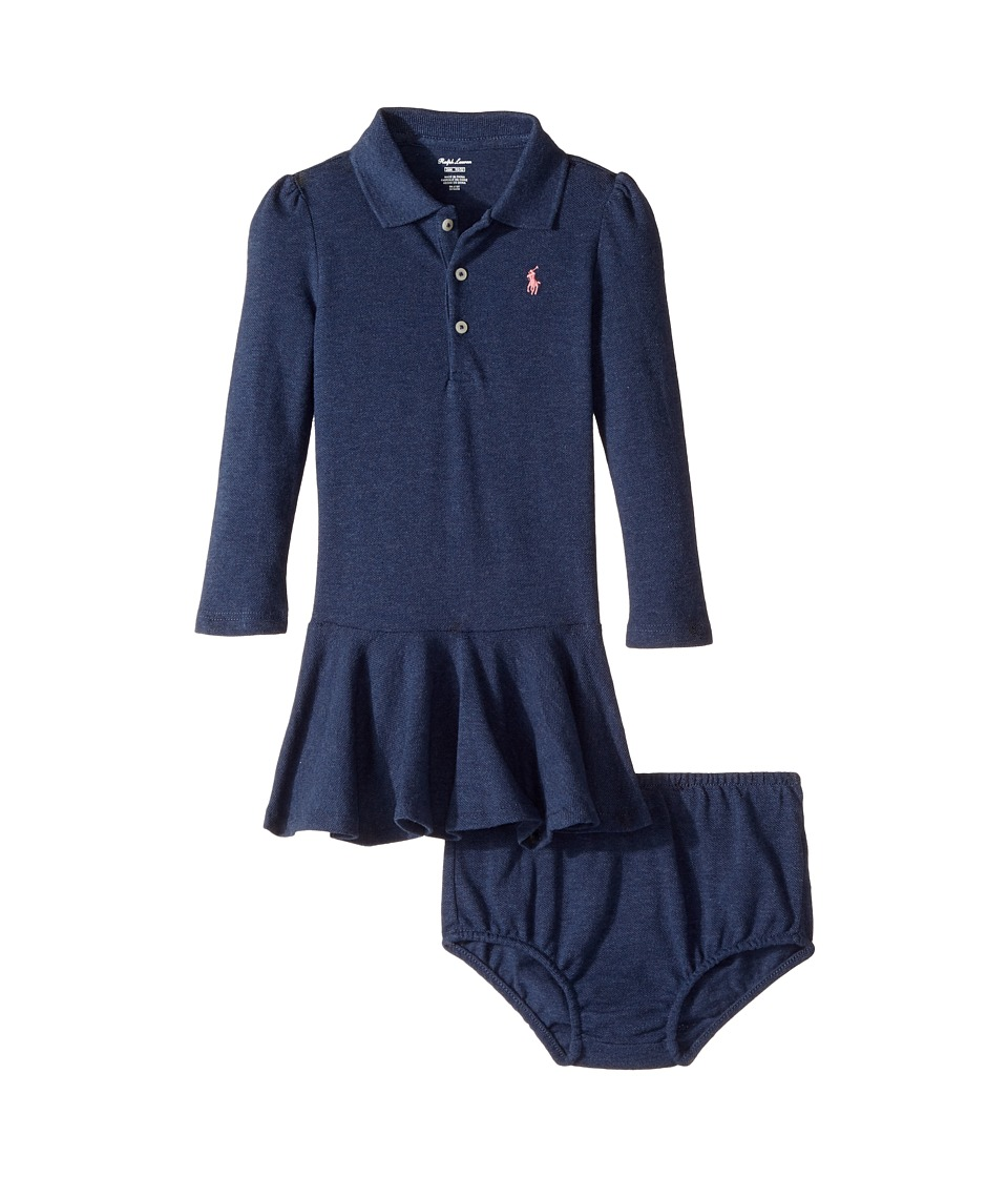 Ralph Lauren Baby - Cotton Polo Dress Bloomer (Infant) (Indigo Blue Heather) Girl's Active Sets