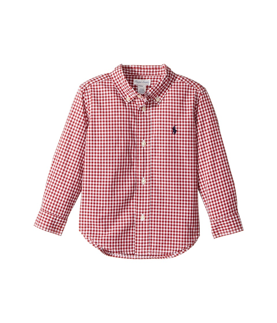 Ralph Lauren Baby - Gingham Cotton Poplin Shirt (Infant) (Red Multi) Boy's Long Sleeve Button Up