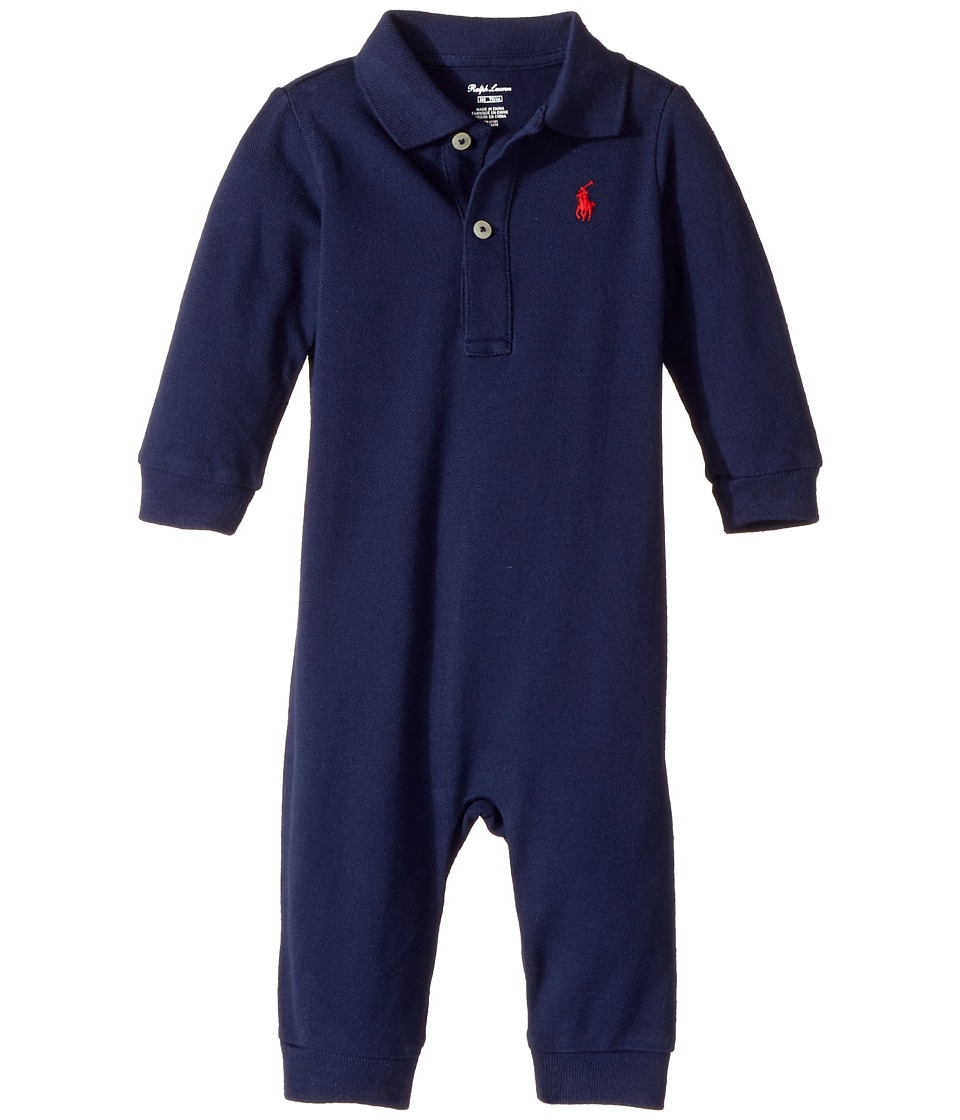 Ralph Lauren Baby - Cotton Mesh Polo Coverall (Infant) (Newport Navy) Boy's Overalls One Piece