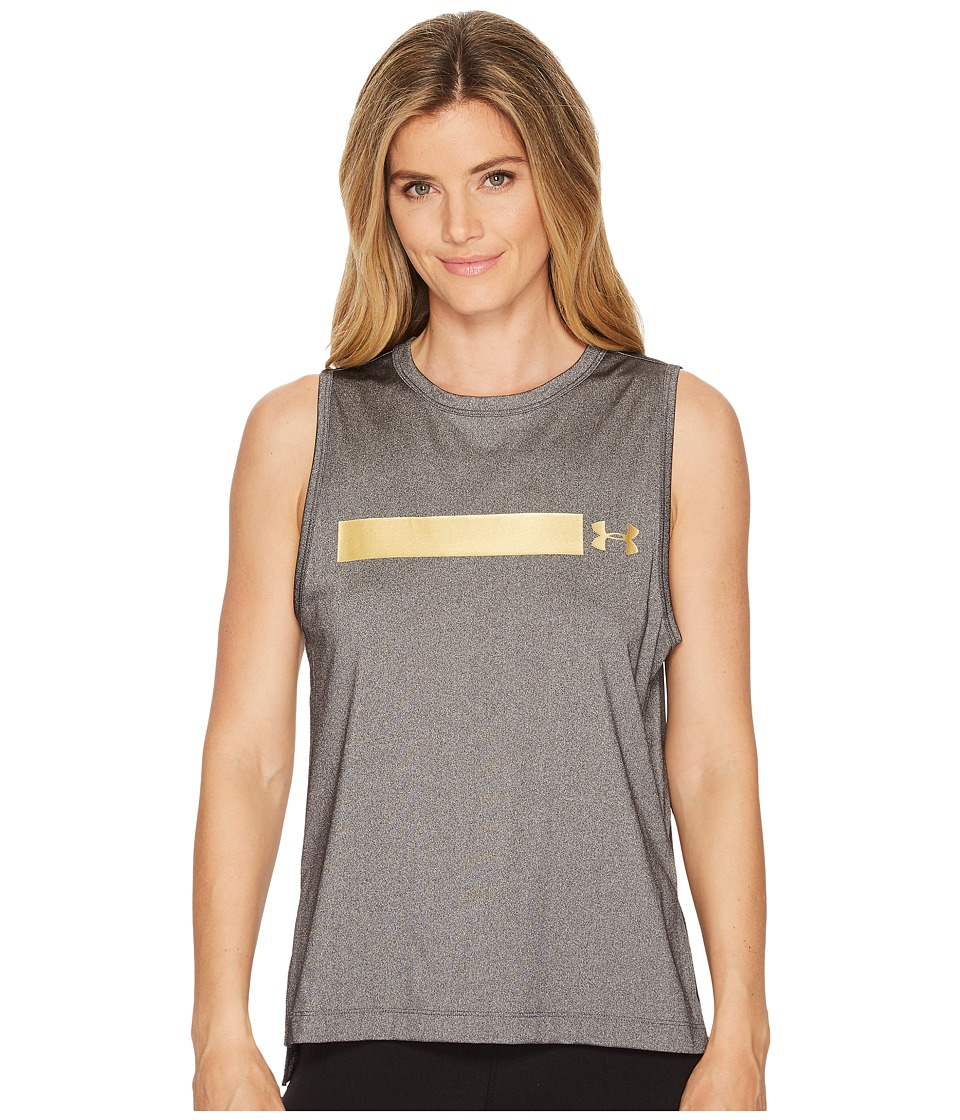 Under Armour Perpetual Graphic Muscle Tank Top (Charcoal Medium Heather/Metallic Victory Gold) Women
