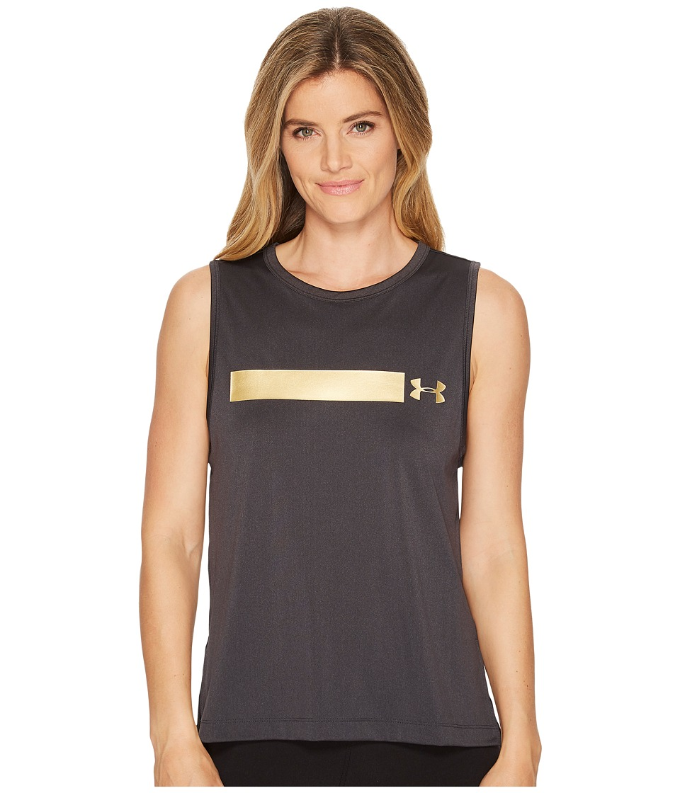 Under Armour Perpetual Graphic Muscle Tank Top (Anthracite/Metallic Victory Gold) Women