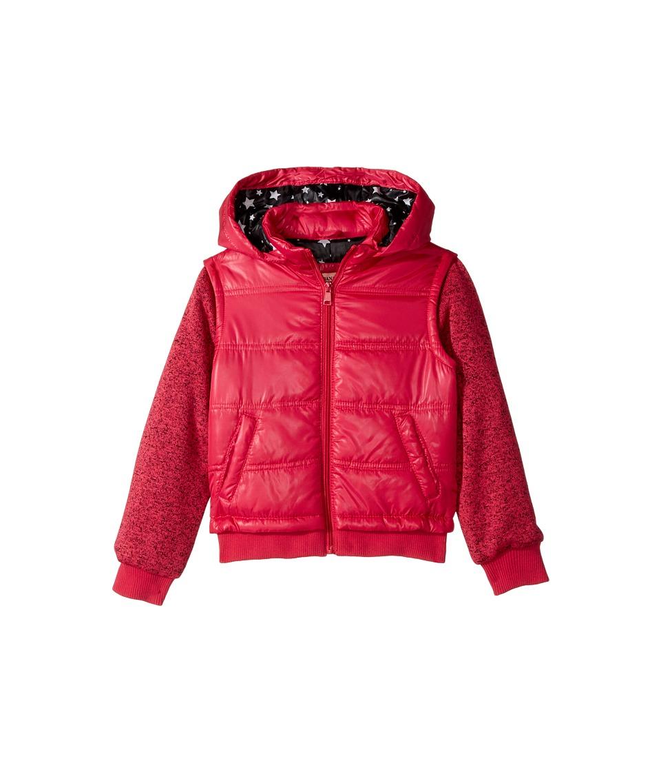 Urban Republic Kids Puffer Jacket with Melange Sleeves (Little Kids/Big Kids) (Pink) Girl