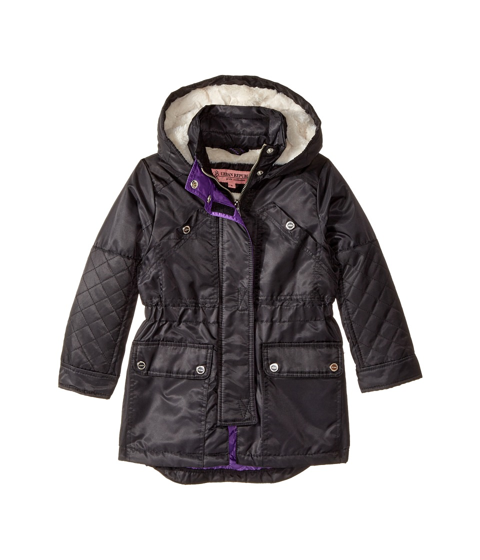 Urban Republic Kids Poly-Twill Anorak with Quilted Lining (Little Kids/Big Kids) (Black) Girl