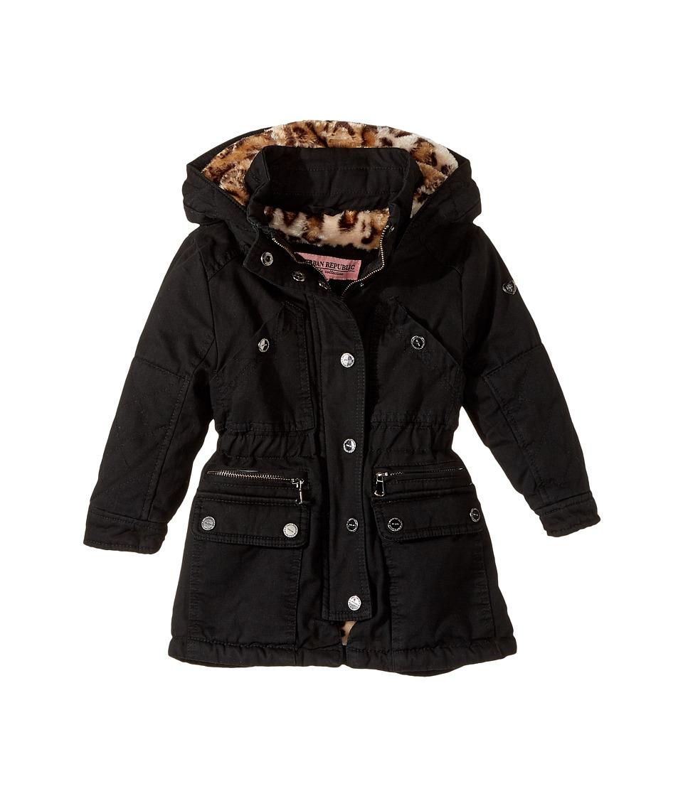 Urban Republic Kids - Cotton Twill Anorak with Faux Fur Lining (Toddler) (Black) Girl's Coat