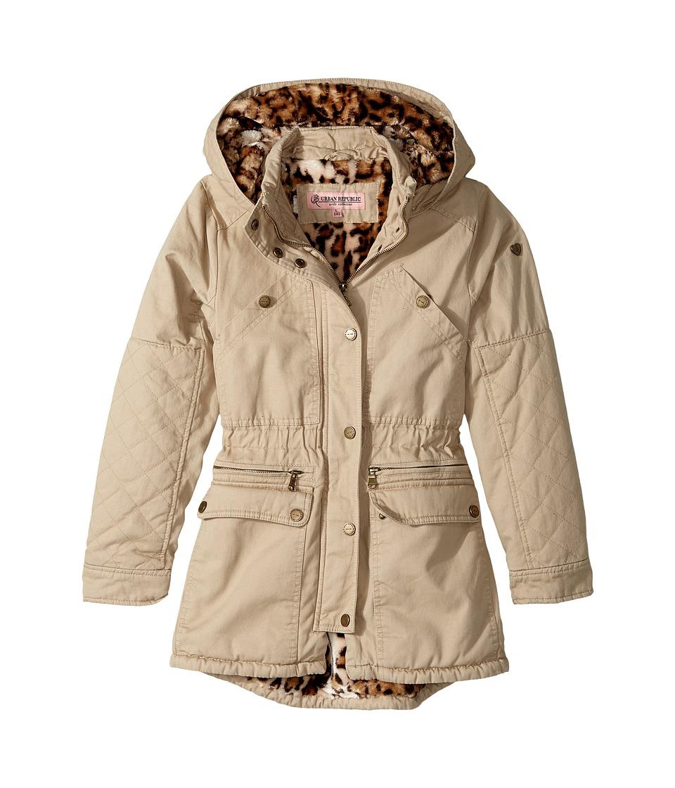 Urban Republic Kids - Cotton Twill Anorak with Faux Fur Lining (Little Kids/Big Kids) (Khaki) Girl's Coat
