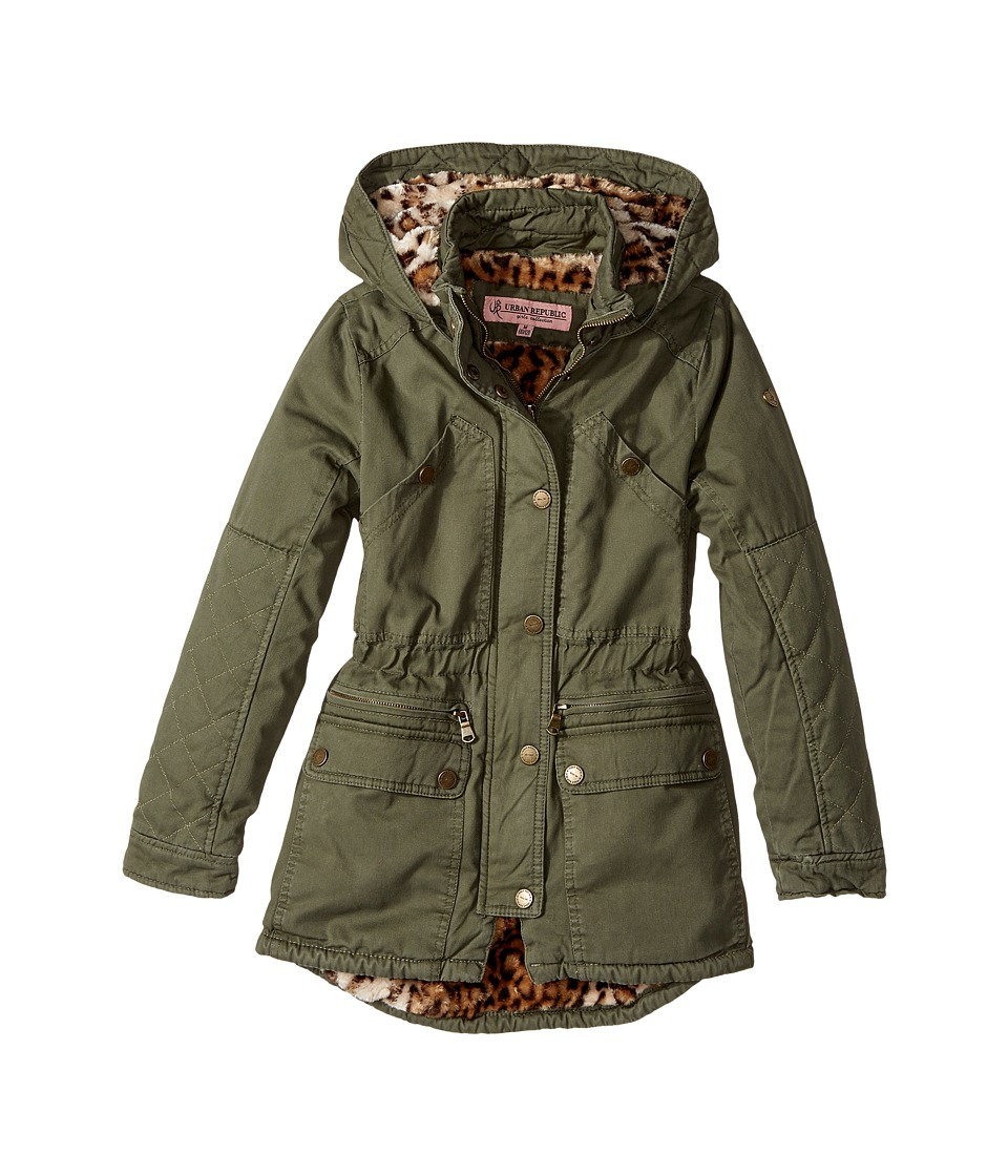 Urban Republic Kids Cotton Twill Anorak with Faux Fur Lining (Little Kids/Big Kids) (Dusty Olive) Girl