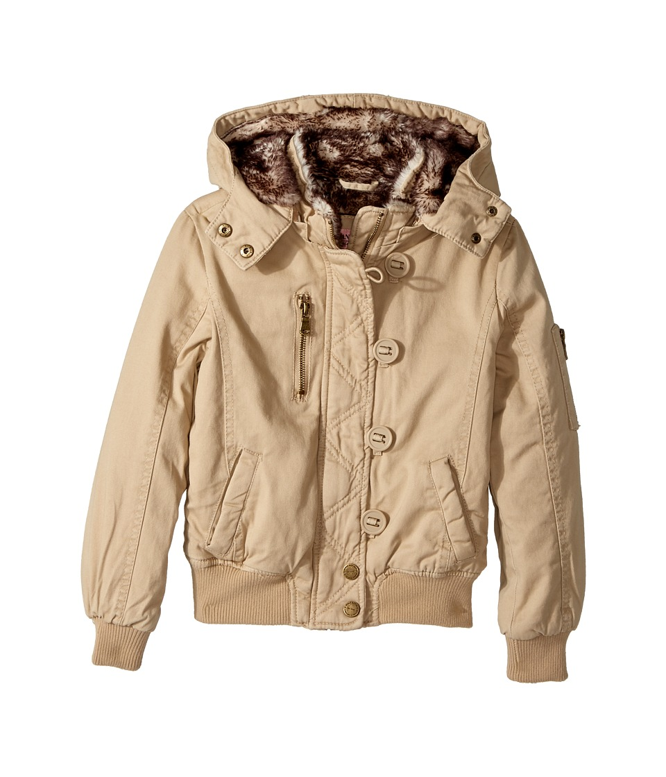 Urban Republic Kids - Cotton Twill Bomber with Faux Fur Lining (Little Kids/Big Kids) (Khaki) Girl's Coat