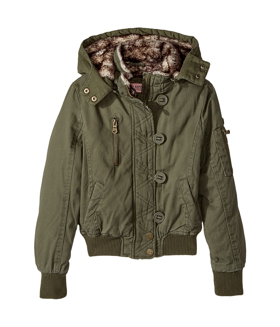 Urban Republic Kids Cotton Twill Bomber with Faux Fur Lining (Little Kids/Big Kids) (Dusty Olive) Girl