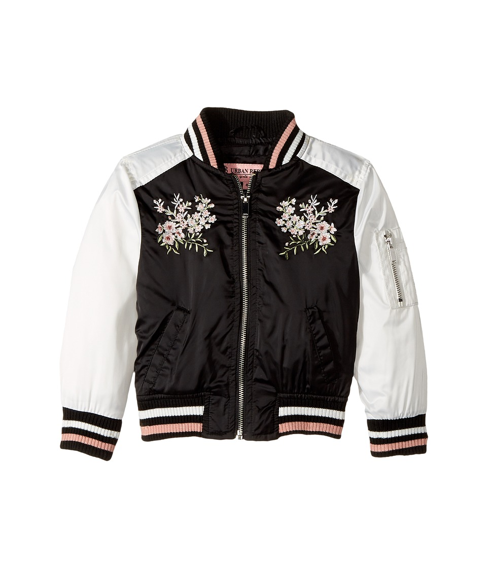 Urban Republic Kids - Satin Bomber with Chest Embroidery (Toddler) (Black) Girl's Coat