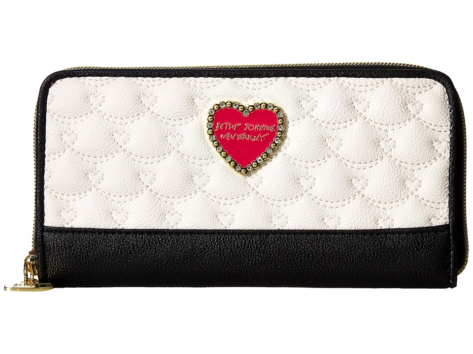 Betsey Johnson - Zip Around Wallet (Cream/Black) Wallet Handbags