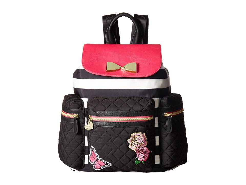 Betsey Johnson - Drawstring Backpack (Stripe/Floral) Backpack Bags
