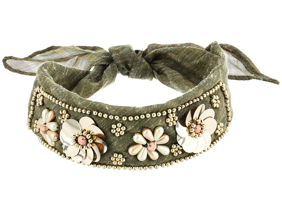 Betsey Johnson - Beaded Blooms Choker (Olive) Necklace