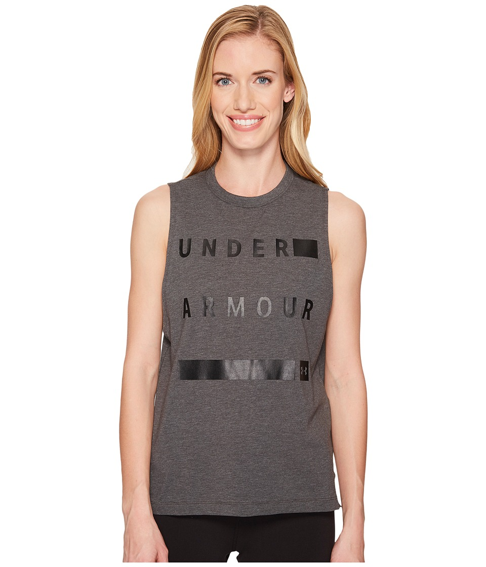 Under Armour Linear Wordmark Muscle Tank Top (Charcoal Medium Heather/Black) Women