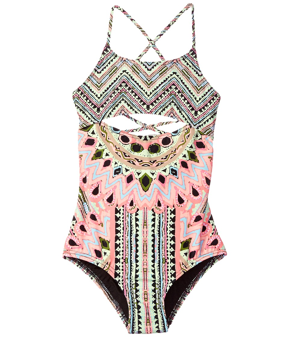 Hobie Kids - Festival of Brights Lace Back One-Piece (Big Kids) (Multi) Girl's Swimsuits One Piece