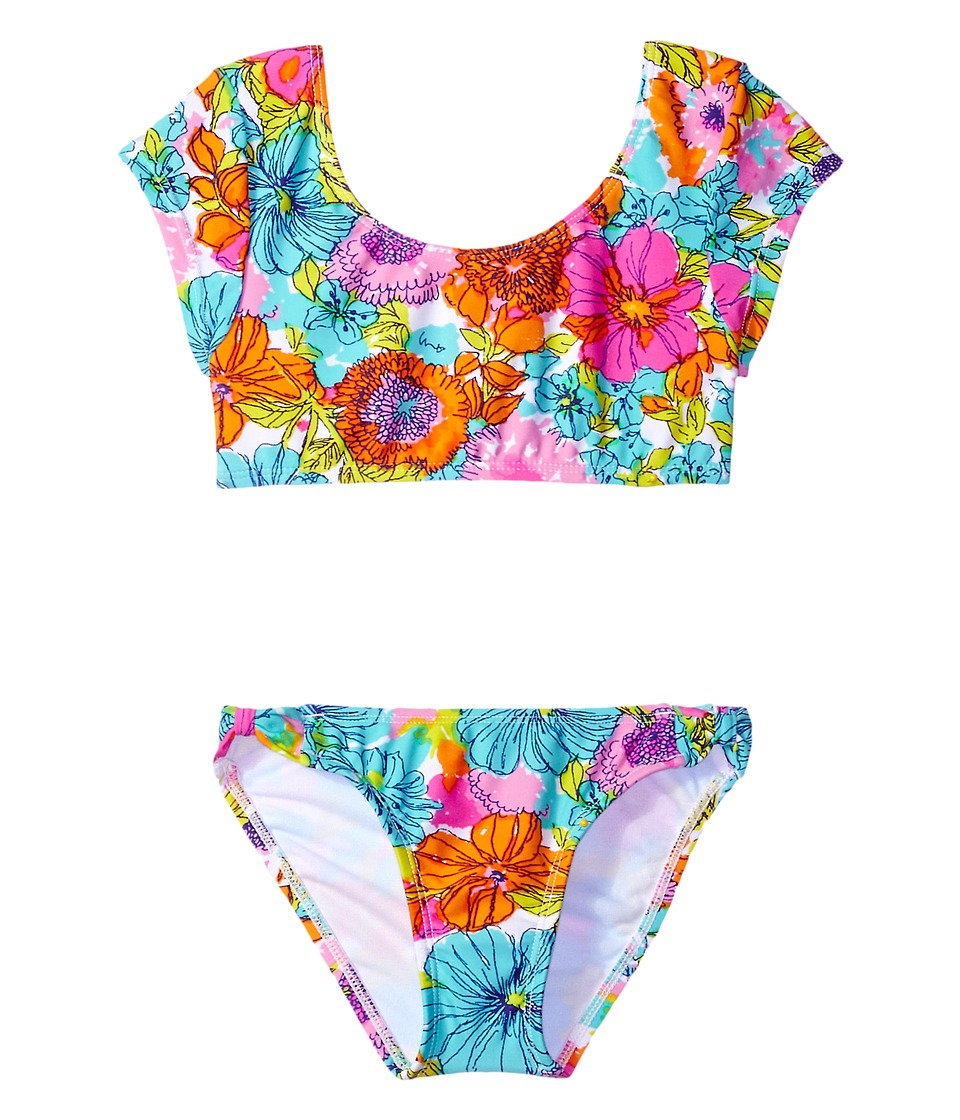 Hobie Kids Fleur To Love Bow Crop Top and Hipster (Big Kids) (Multi) Girl