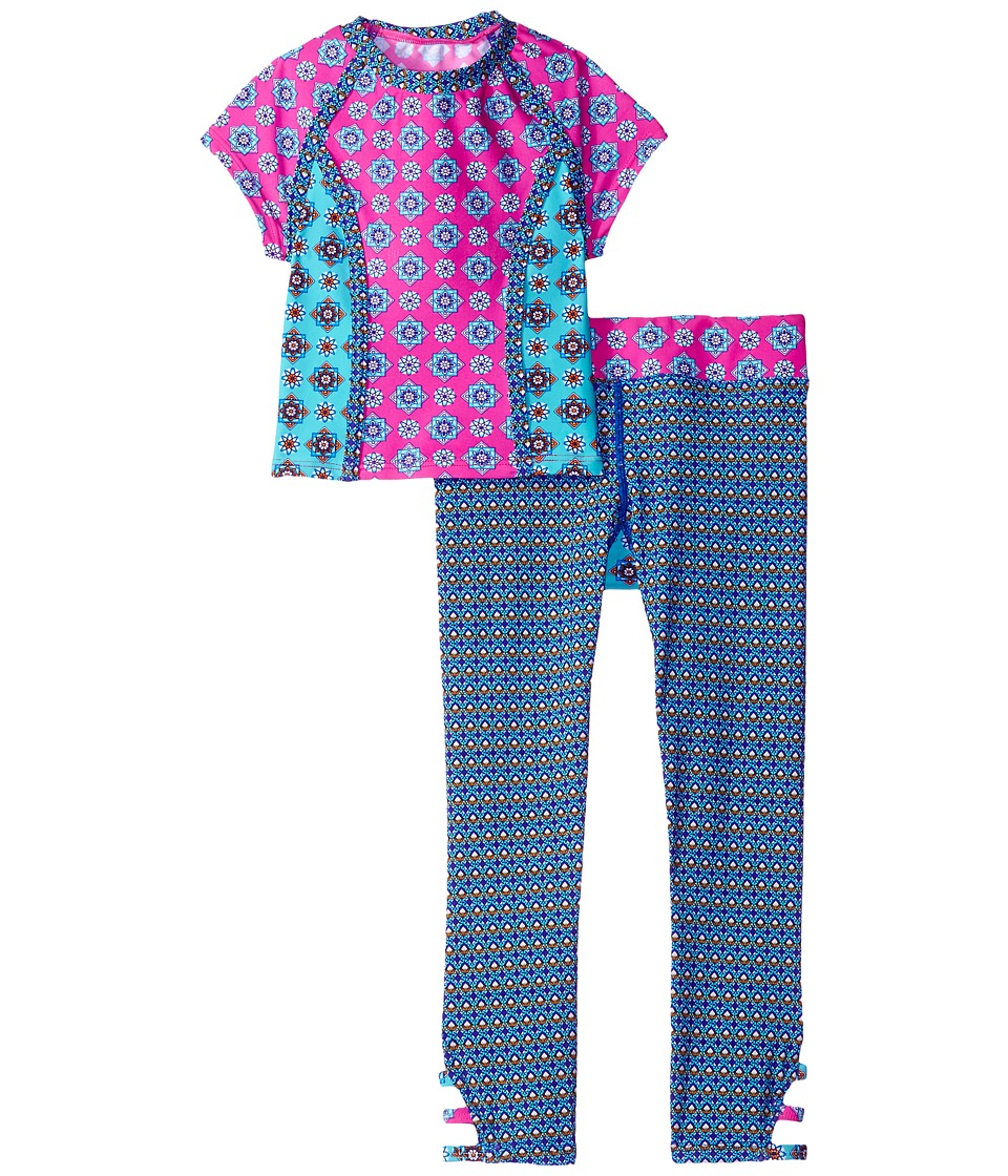 Hobie Kids - Mix It Up Cropped Rashguard and Swim Pants (Big Kids) (Multi) Girl's Swimwear Sets