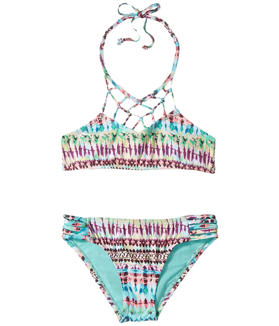 Hobie Kids Do or Tie-Dye Macrame High Neck and Strappy Hipster Set (Big Kids) (Multi) Girl