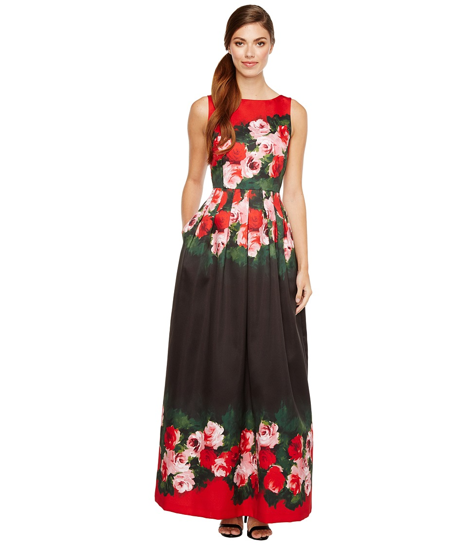 Tahari by ASL Rose Printed Ballgown Black-Scarlet-Blush Dress