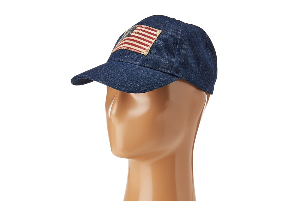 Steve Madden - Denim Baseball Cap w/ Faded American Flag (Denim) Baseball Caps