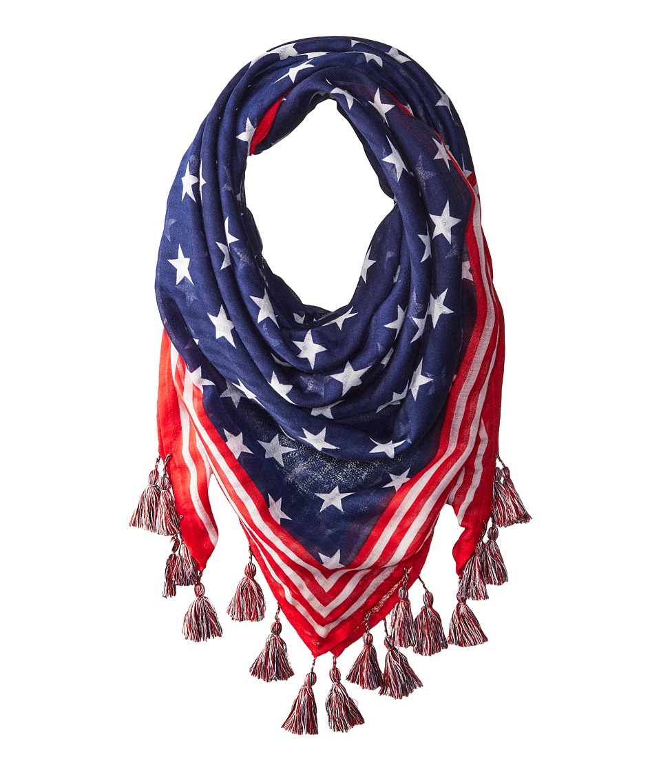 Steve Madden - Stars and Stripes Square Day Wrap (Navy) Scarves