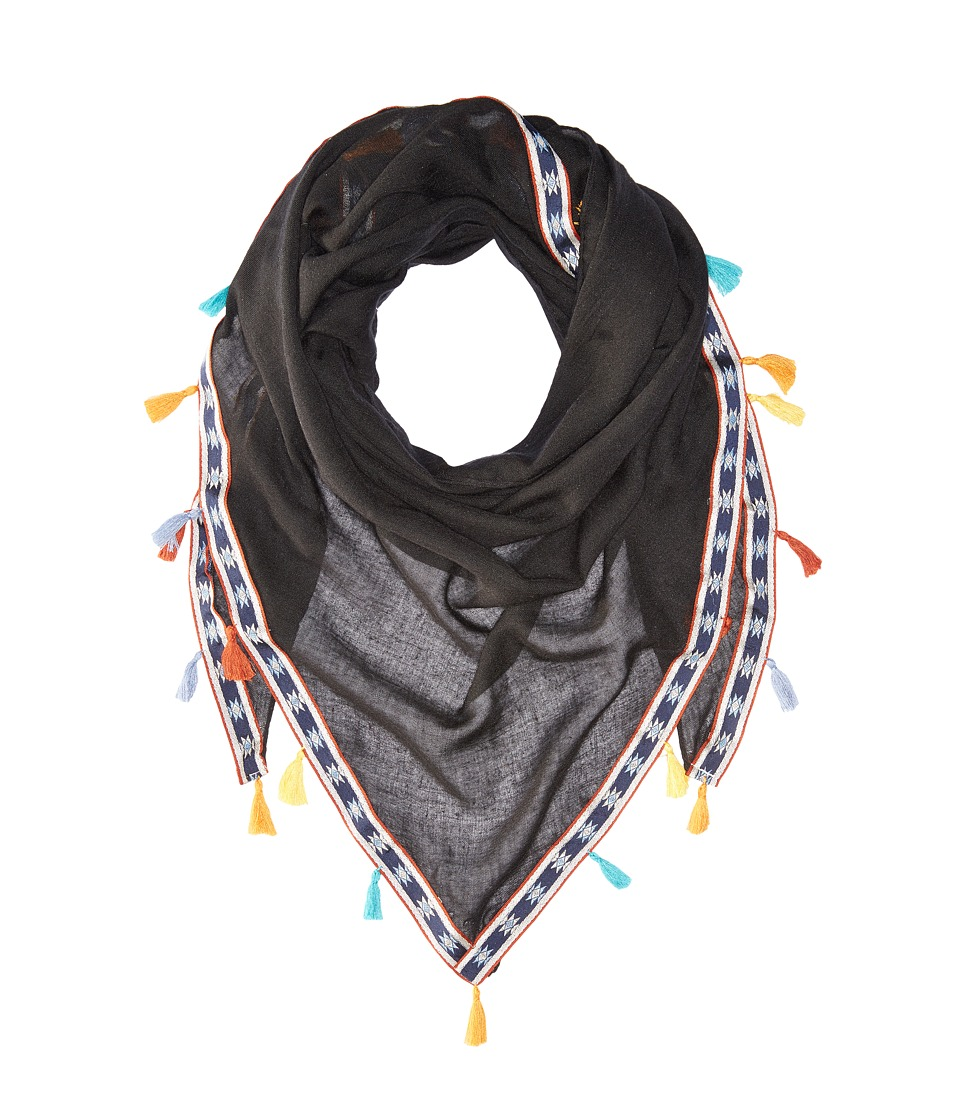 Steve Madden - Multicolor Tassels and Trim Triangle Day Wrap (Black) Scarves