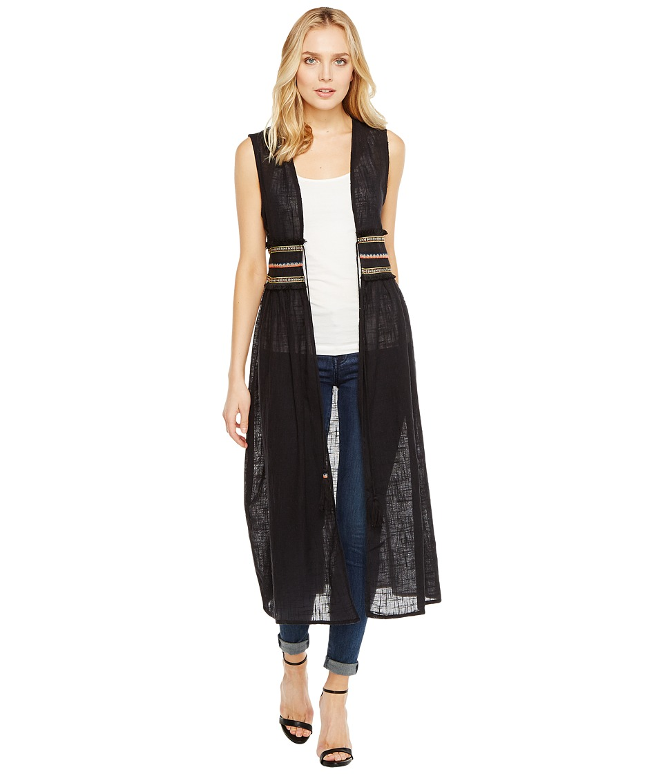 Steve Madden - Solid Tie Front Duster Vest w/ Trim Waist (Black) Women's Clothing